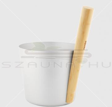 Rento aluminium szaunadézsa bambusz fogantyúval, ezüst színű, 5 literes